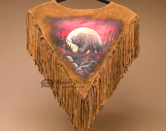 Hand Painted Beaded Chaleco Dance Shirt - Moonlit Bear - Back View