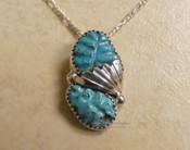 "Zuni Silver Turquoise Pendant Necklace 20"""