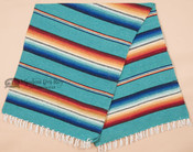 Serape Old Style Mexican Blanket - Teal