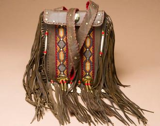 Elk Hide Beaded Medicine Bag