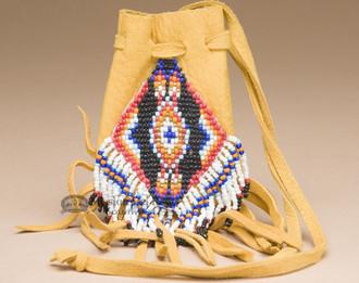 Navajo Beaded Deer Skin Medicine Pouch