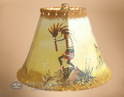 "Painted Leather Lamp Shade 8"" -Kokopelli"