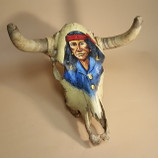 Southwestern Painted Steer Skull -Army Scout