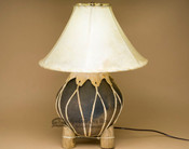 Southwestern Rawhide Pottery Lamp for Rustic Decor
