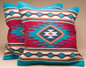 Pair Southwest Wool Pillow Covers 18x18 -Zia Style