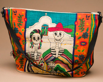 Cotton Day Of Dead Purse -Skeleton Couple