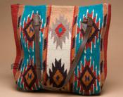 Southwestern Wool Purse -Turquoise & Tan