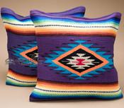 Pair Serape Southwest Pillow Covers 18x18 -Purple