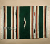 Woven Southwestern Style Diamond Blanket 5x7 -Hunter Green