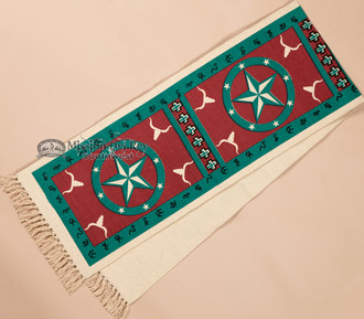 Southwestern Textured Table Runner 13x72 -Turquoise Star