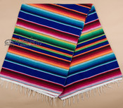 Mexican Serape Blanket 5'x7' -blue