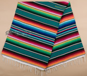 Southwest Mexican Serape Blanket 5'x7' -Teal