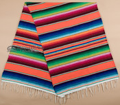 Classic Mexican Serape Blanket 5'x7' -Orange
