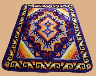 Luxury Plush Southwest Design Blanket -Navajo Purple