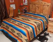 Southwestern Bedspread Saltillo Tan -Front (queen being displayed)