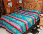Southwestern Bedspread Saltillo Turquoise  (queen displayed)