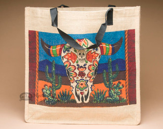 Market Bag 18x18 -Day of the Dead Steer Skull