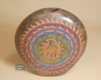Etched Horsehair Pottery Pillow Vase -Kokopelli