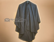 Hooded Southwestern Woven Wool Cape -Black