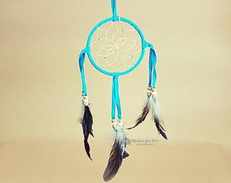 "Native American dreamcatcher  4"" -Turquoise"