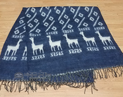 Soft Alpaca Row Blanket -Blue & White