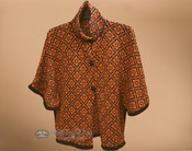 Alpaca Button Cape - Orange