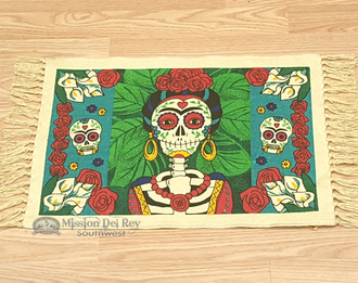 Day of The Dead Cotton Placemat 13x19 - Frida Kahlo