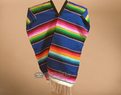 Youth Size Mexican Style Serape Poncho- Blue