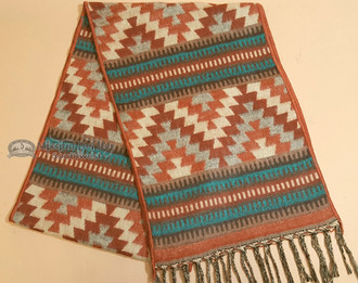 Rustic Southwest Scarf -Rust with Turquoise Accent