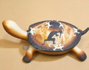 Turtle Jewelry Box with Lid - Brown Kokopelli Design