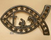 Southwestern Metal Art Trivet - Cowboy At The Cross