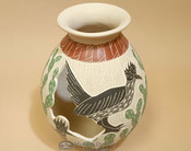 "Mata Ortiz Etched Road Runner Pottery Vase 7.5"" - Lupe Soto"