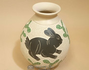 Hand Etched and Painted Mata Ortiz Potery Vase - Bunny - by Lupe Soto