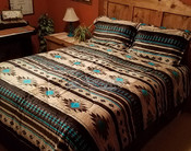 Southwestern Sherpa Comforter Bed Set -Tan & Turquoise