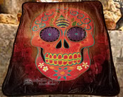 Plush Sherpa Silk Touch Throw -Sugar Skull