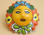 "Authentic Hand Painted Southwest Talavera Sun 4.5"" (p499)"