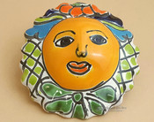 "Authentic Rustic Hand Painted Talavera Sun 4.5"" (p500)"