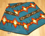 Southwestern Fleece Lodge Blanket -Turquoise Longhorns