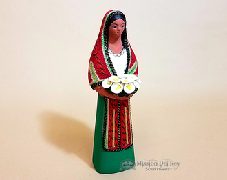 Southwestern Standing Woman Figurine With Flowers - Green