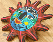 "Hand Painted Rustic Southwestern Sun 10"" - Matte Red"