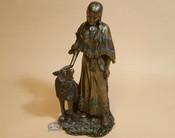 Southwestern Bronze Sculpture - Indian Woman & Wolf