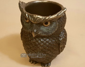 "Bronze Rustic Western Statue 5.5"" - Horned Owl Pen Holder"