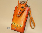 Southwestern Hand Tooled Leather Phone Case - Orange Horse