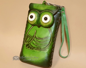 Southwestern Hand Tooled Leather Phone Case - Green Owl