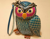 Southwestern Hand Tooled Leather Coin Purse - Blue Owl