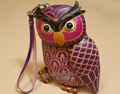 Southwestern Hand Tooled Leather Coin Purse - Purple Owl