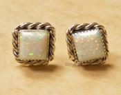 Native American Silver and Opal Earrings