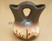 "Native American Navajo Wedding Vase 5"" -Sonora Desert Brown (p700)"