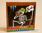 Day Of the Dead Mexican Tile -Skeleton Hunter
