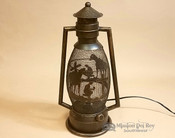 Metal Art Lantern Lamp -Cowboy at the foot of the cross
